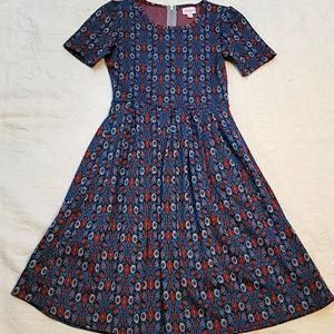 Lularoe Amelia dress fit and flare red turquoise